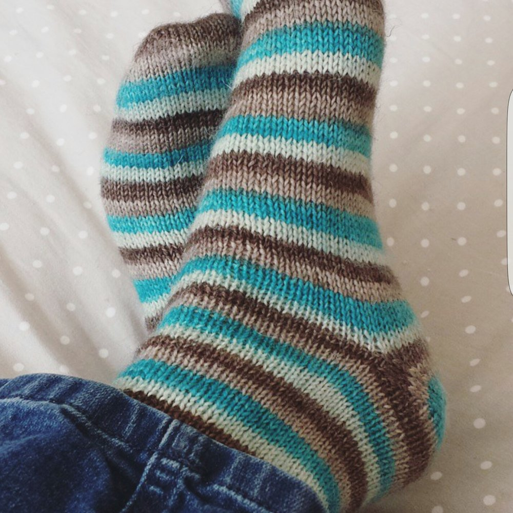 Stripy socks in Britsock from the Knitting Goddess