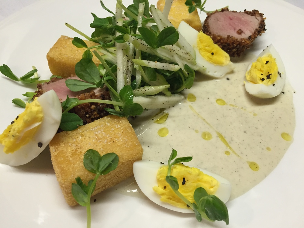 Mustard Crusted Pork Tenderloin, Cardamom Parsnip Purée, Crispy Polenta, Tea Boiled Egg, Apple Salad
