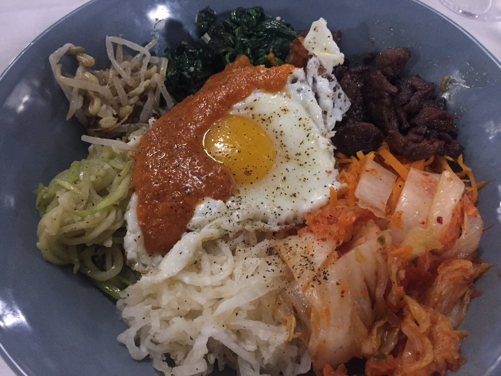 "Bipimbap: A Korean dish. The word literally means ""mixed rice"". Bibimbap is served as a bowl of warm white rice topped with namul and gochujang, soy sauce, or doenjang. A raw or fried egg and sliced meat are common additions"