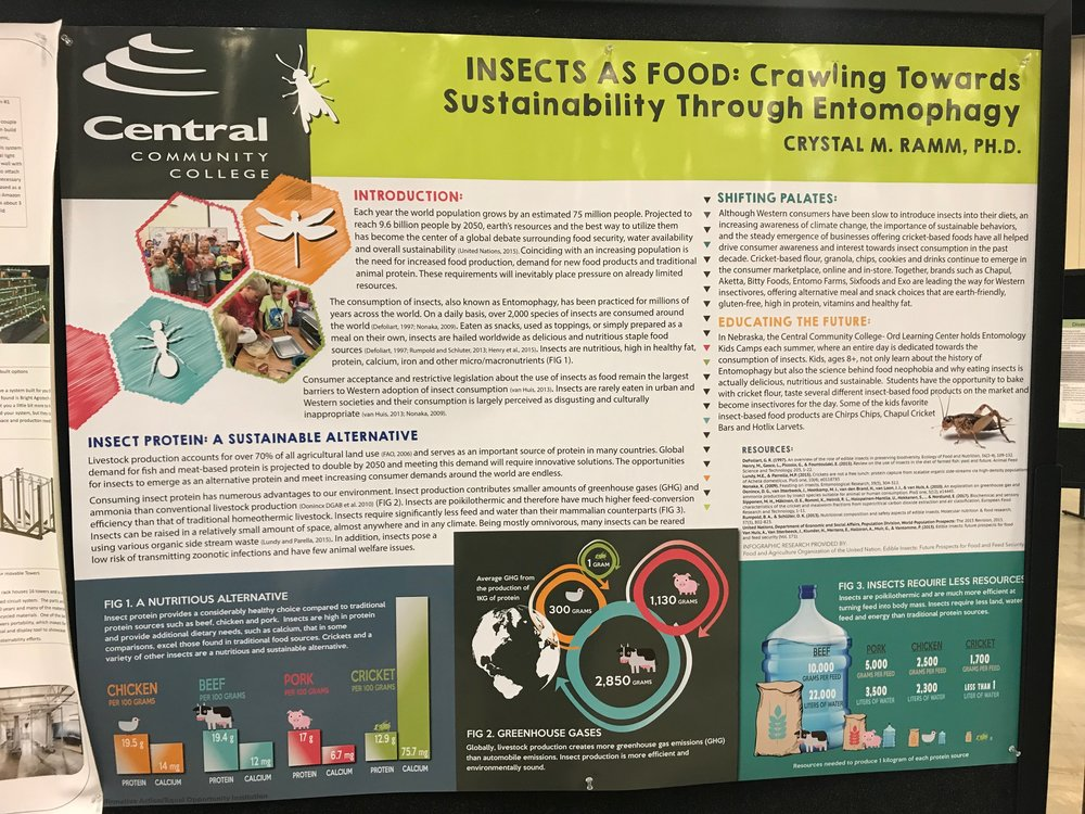 Poster Session by Central Community College on the future of insect protein as a food source.