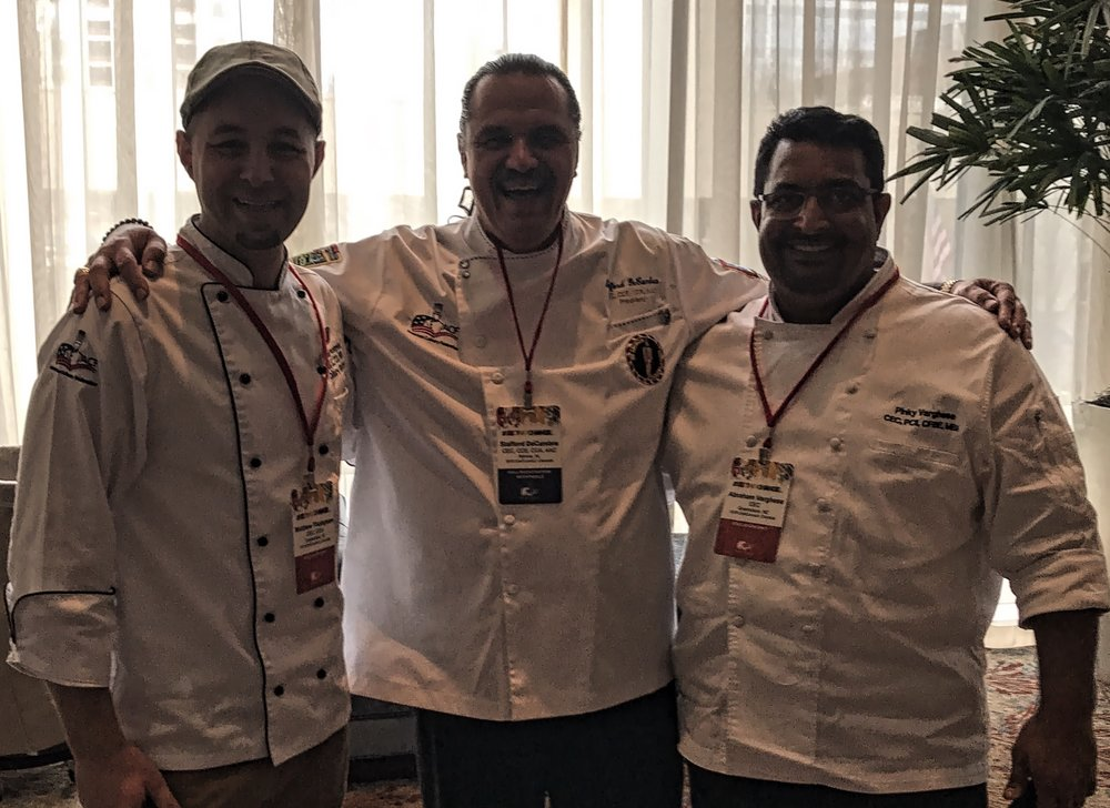 Hanging out with Chef Stafford DeCambra CEC, CCE, CCA, AAC, ACF National President & Pinky Varghese, CEC, PCII, CFBE