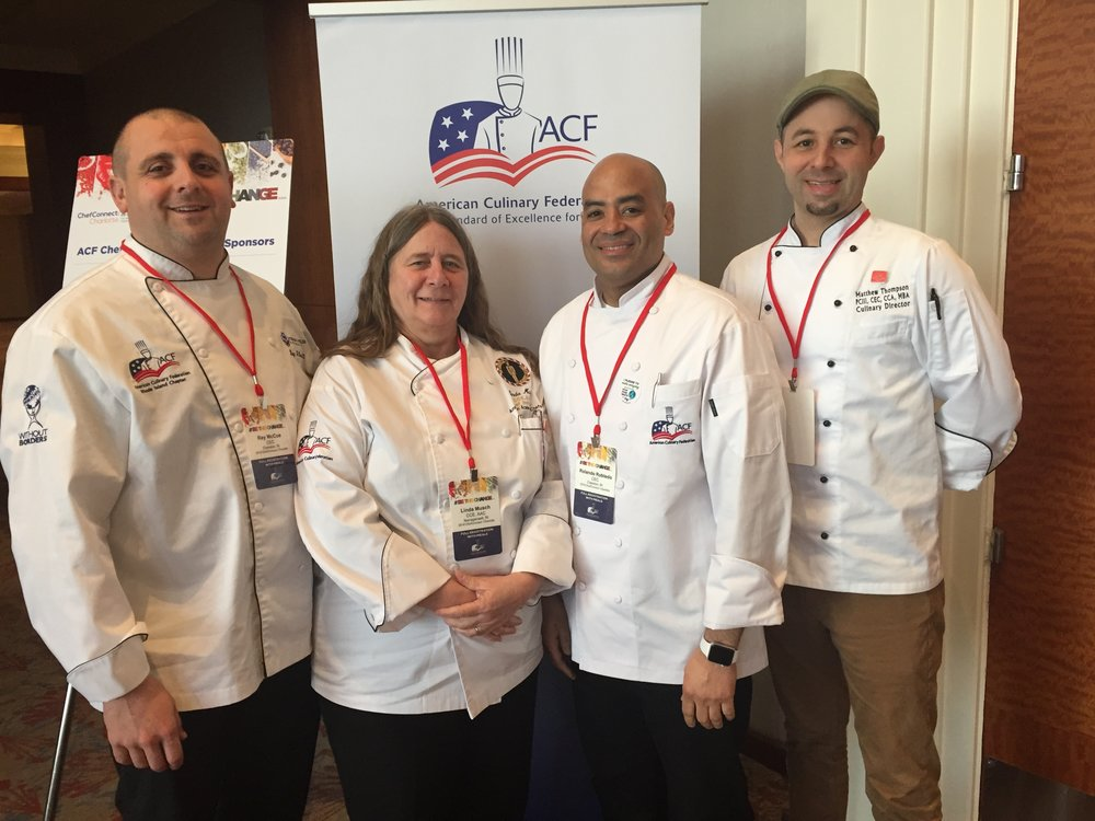 ACF Rhode Island Chapter, Left to Right: Chefs Ray McCue CEC, Linda Musch CCE, AAC, Rolando Robledo CEC & Matthew Thompson CEC, CCA