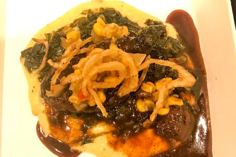 Silken corn polenta, southern greens, sweet & hot corn relish, tobacco shallots