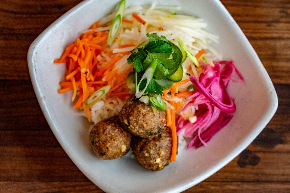 BBQ Glazed Vietnamese Pork Meatball rice bowl
