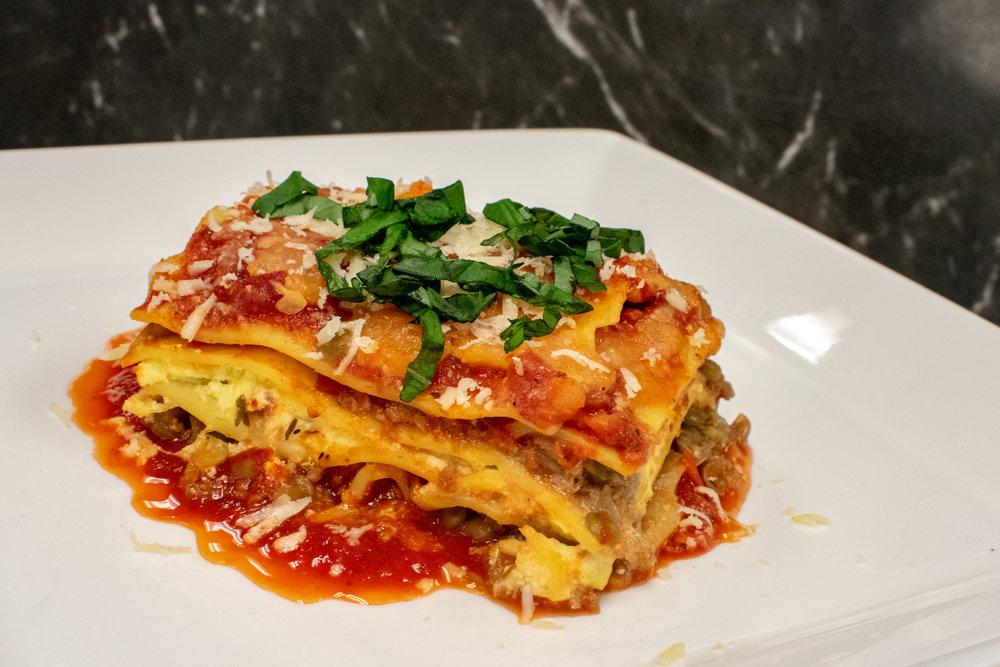 Parmesan-Basil Lasagna with Lentil Bolognese