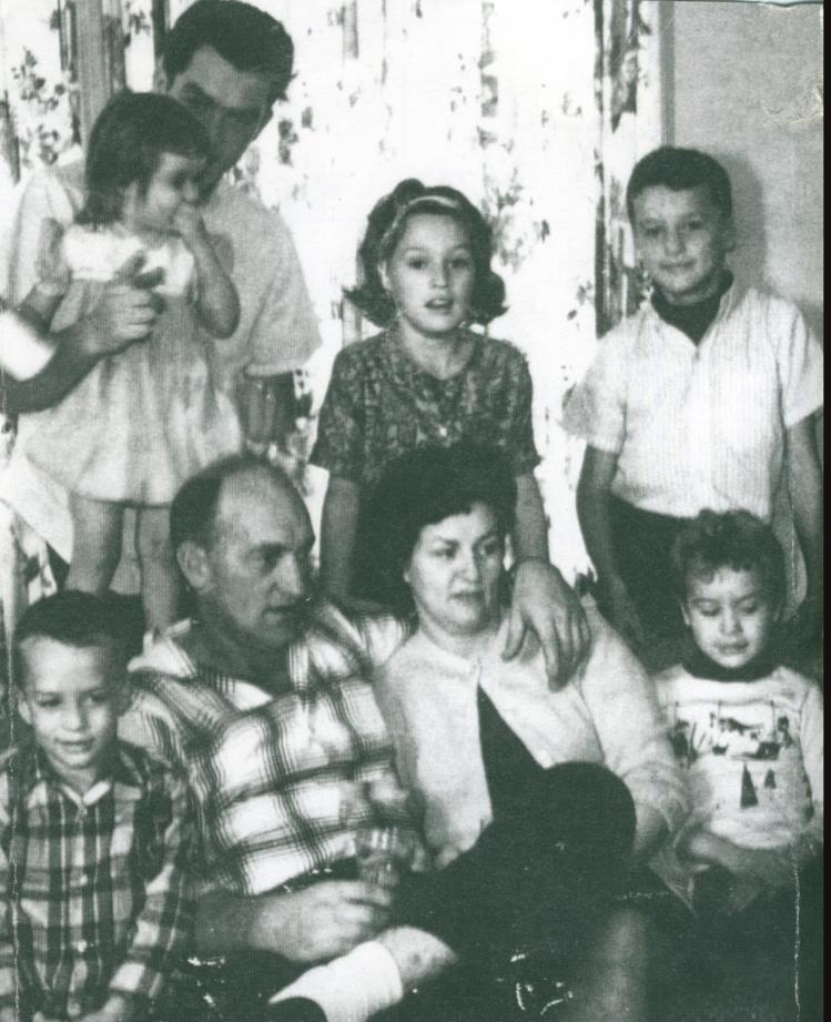 Donald and Bonnie Barcel with their six children.