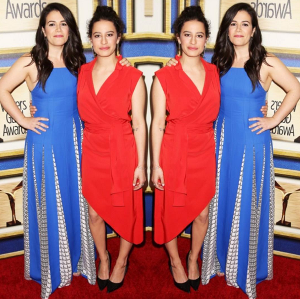 Ilana Glazer in Spring '16 fire coral tuxedo dress at the Writers Guild of America Awards.