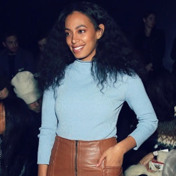 Solange in Pre-Fall '16 cove ribbed turtleneck at the Fall '16 Show.