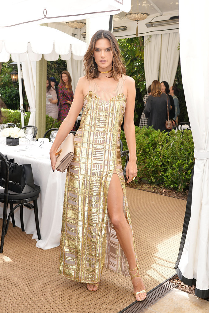 Alessandra in Fall '16 lk 35 camel ribbed tank & moroccan metal slip dress at Chateau Marmont.
