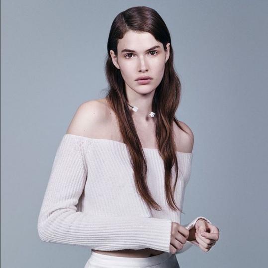 Baja Babe Vanessa thriving in cashmere-off-the-shoulder for Models.com