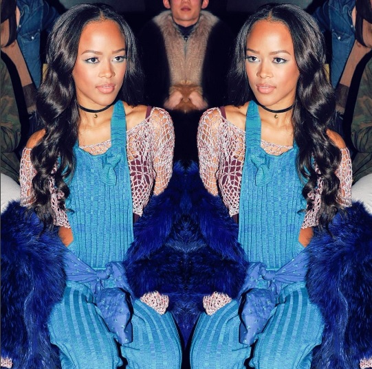 Serayah in our hand-knit tribal crochet crop top & knit overalls at our Fall '16 show.