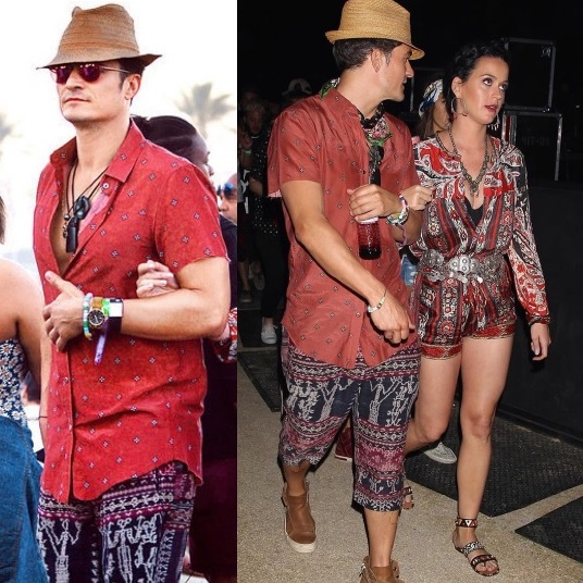 Orlando Bloom kickin' it in our one-of-a-kind antique board shorts Coachella