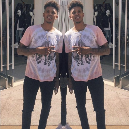 LA Laker's Nick Young Baja Babing in our blush tie-dye tee.