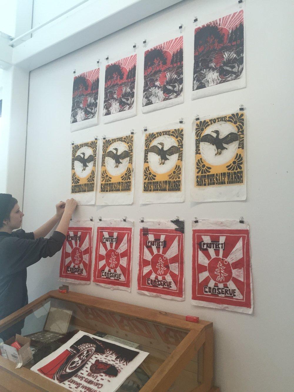 Installation of Student work at Maine Audubon