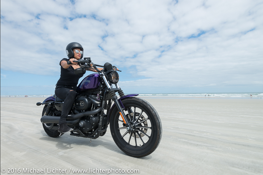 Samantha Campbell of the Iron Lilies. Daytona Bike Week. Shot by Michael Lichter