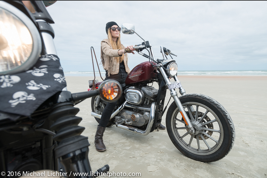 Tracy Herndon of the Iron Lilies. Daytona Bike Week. Shot by Michael Lichter