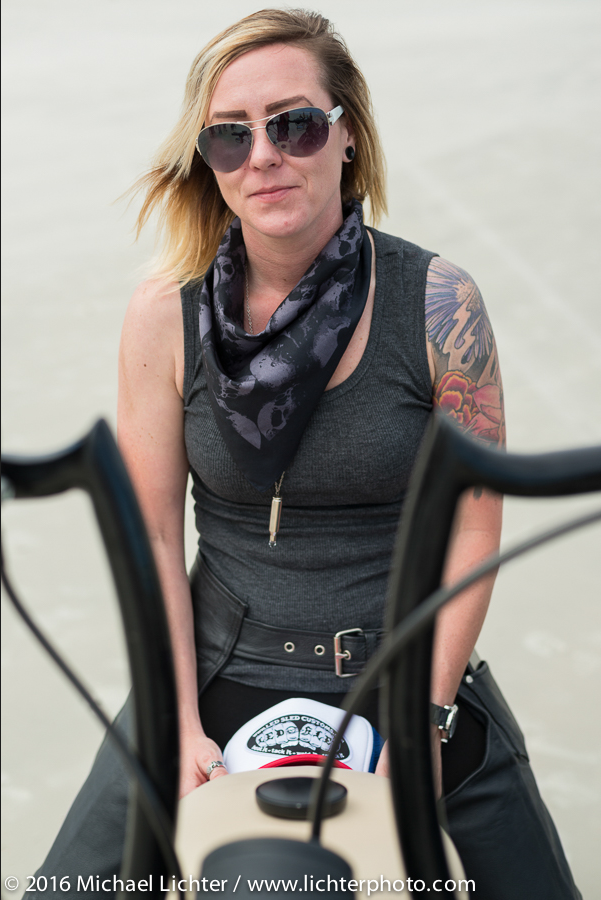 Dana Cooley of the Iron Lilies. Daytona Bike Week. Shot by Michael Lichter