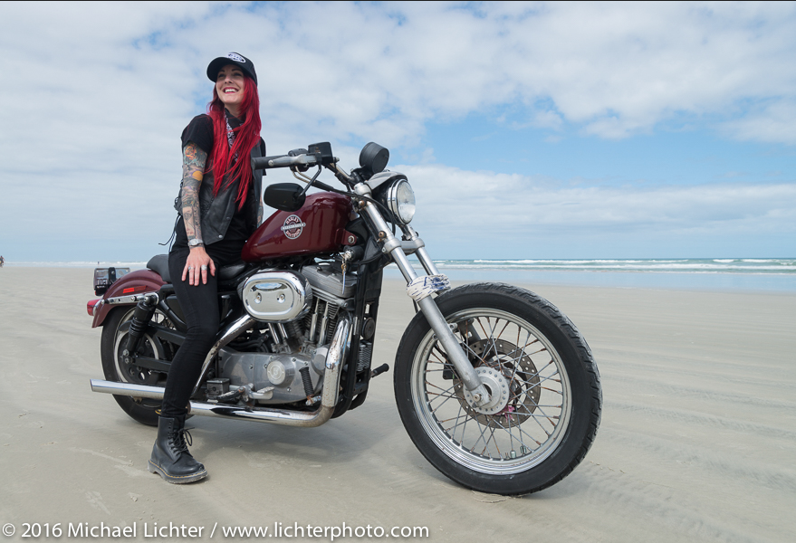 Sarah Fury of the Iron Lilies. Daytona Bike Week. Shot by Michael Lichter