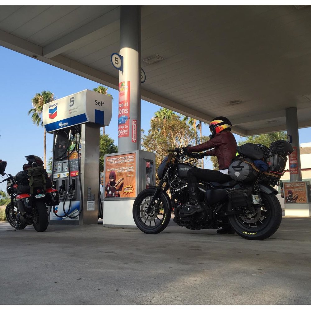 Leticia and crew, one of MANY gas stops on the trek from L.A. to Sturgis.
