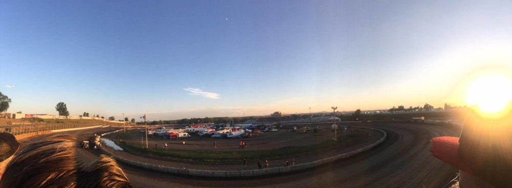 Black Hills Speedway at sunset.
