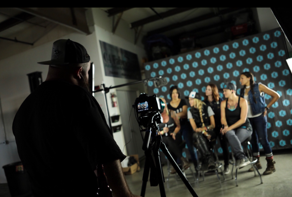The Iron Lilies from all over the US being interviewed at Legend Suspensions headquarters.