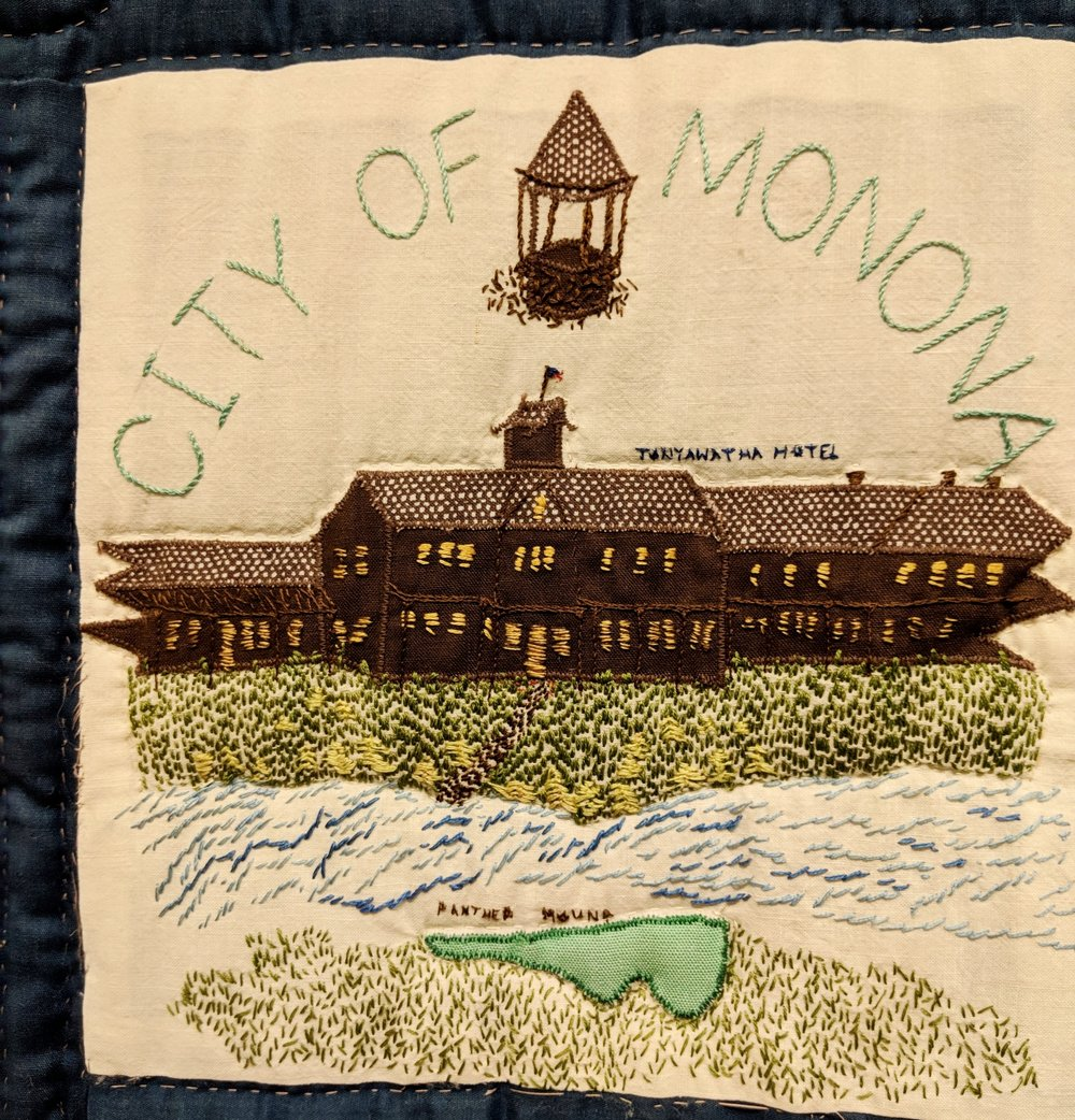 Tonyawatha hotel shown on quilt at ADRC