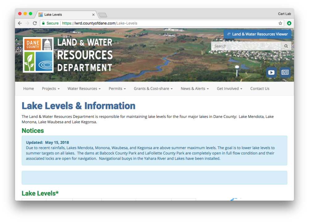Lake & Water Department website screenshot