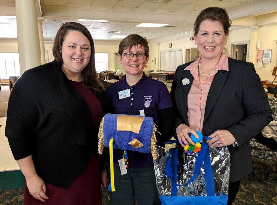 Supervisor Eicher, Dane County Dementia Care Specialist Joy Schmidt, and I, Sun Prairie Colonial Club