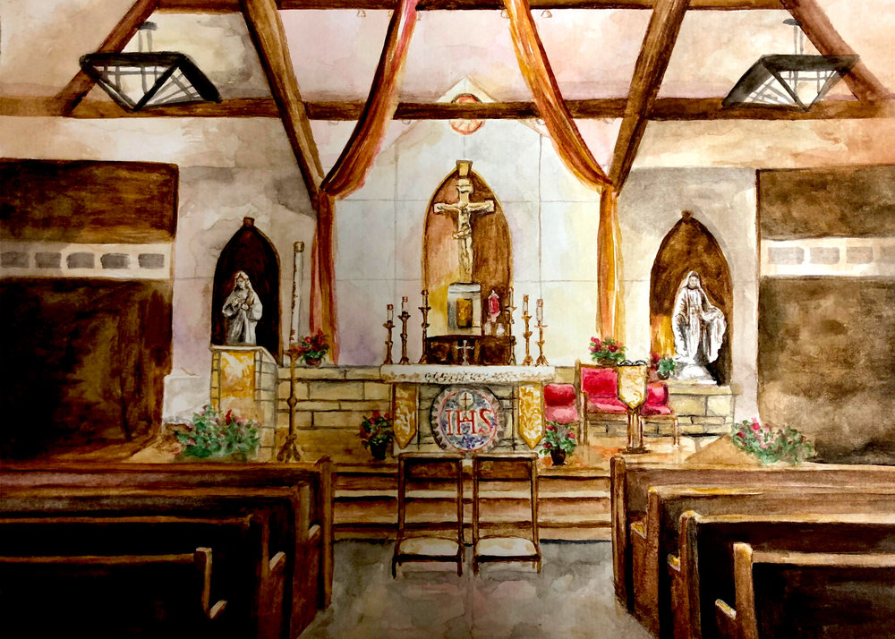 Interiors - Leanne loves to paint places that are important to people, but especially places of prayer. Is there a place you always like to pray at? A place you got married? Order a customized painting of the church's interior or of an interior of a house!