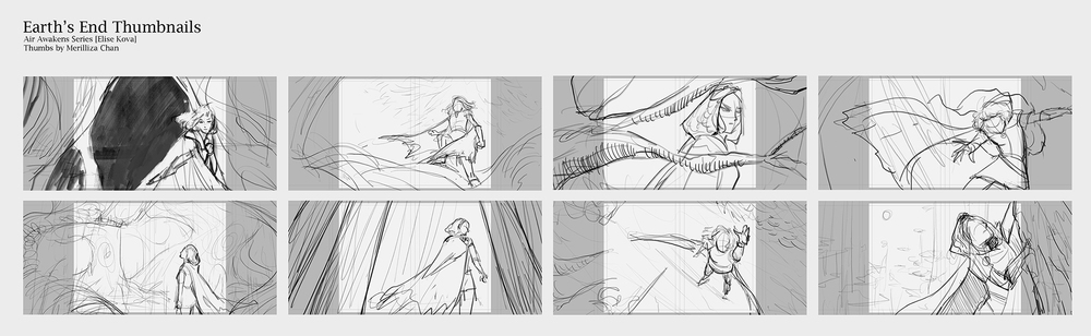 (Earth's End initial thumbnails. There's usually huge blocks of texts below each thumbnail to help my client understand the idea, but for this post I removed it because they indicate a lot of spoilers for the book.)