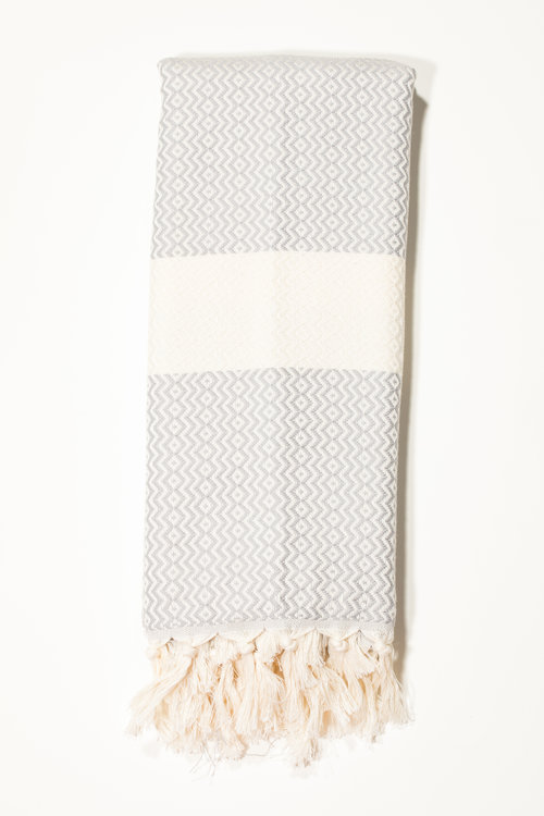 bbd585d15 Light Grey Small Elmas Woven Turkish Towel/Scarf | The Whirling Girl