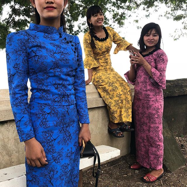 Three dresses - Street fashion near Mandalay, Myanmar. #color #fashion #friends