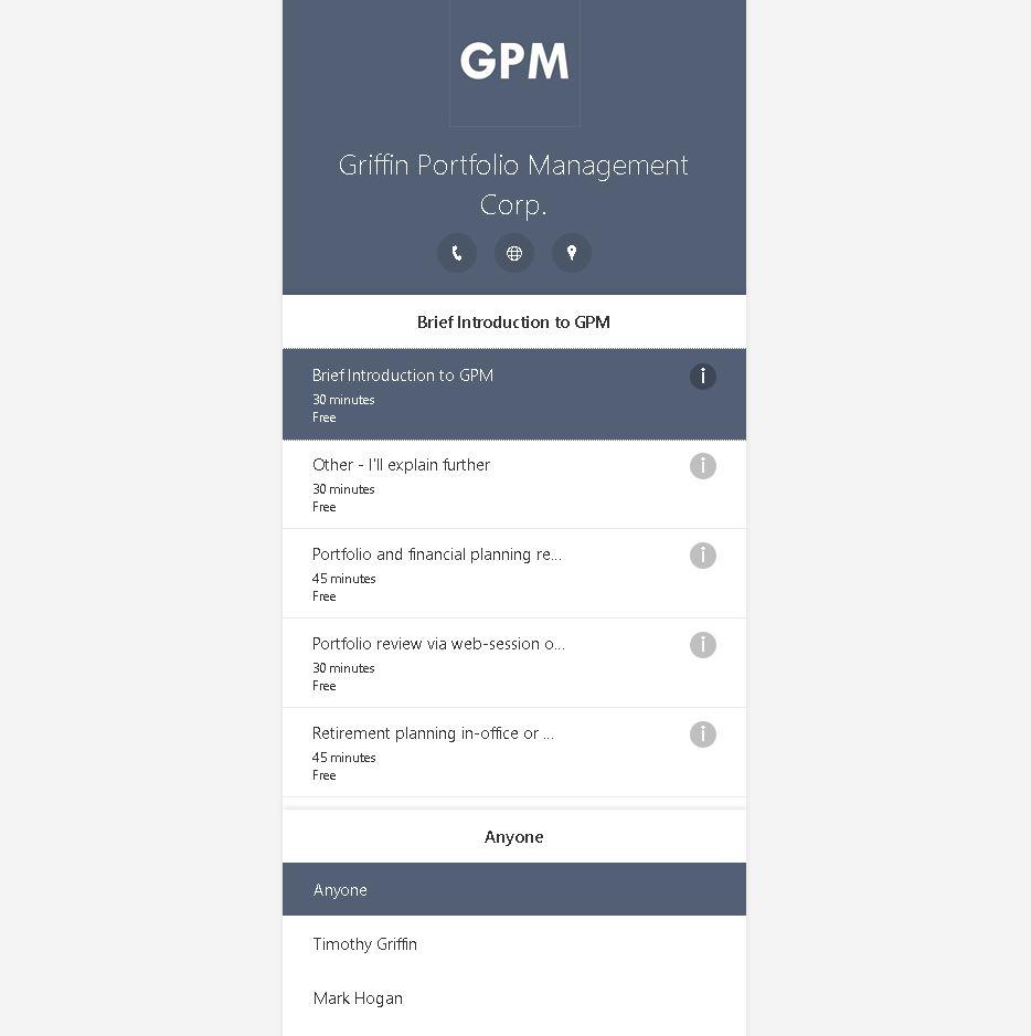 GPM Calendar Service Selection
