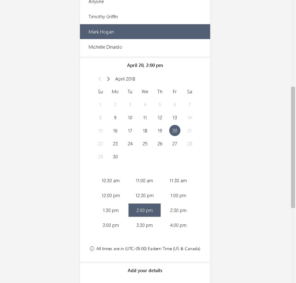 GPM Calendar Date & Time Selection