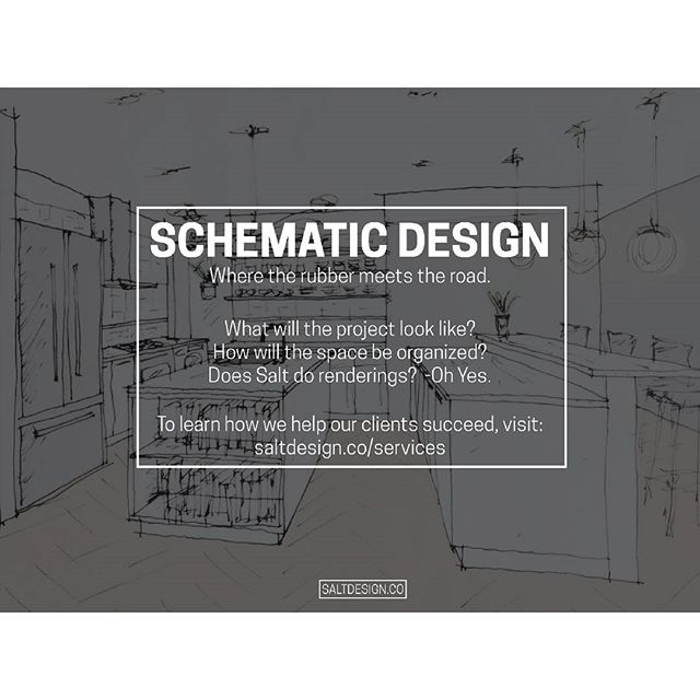 In today's #SaltySeries we look at the early design phase of any project.  #SchematicDesign. . In conversations we're often asked to explain our role as the architect and whether we take on various parts of a project's scope. People are often surprised to learn how broad our capabilities are. In response to these questions, we've created a list of our services which we'll highlight in this weekly series. A complete list of our offerings can be found via the link in our bio on our services page.