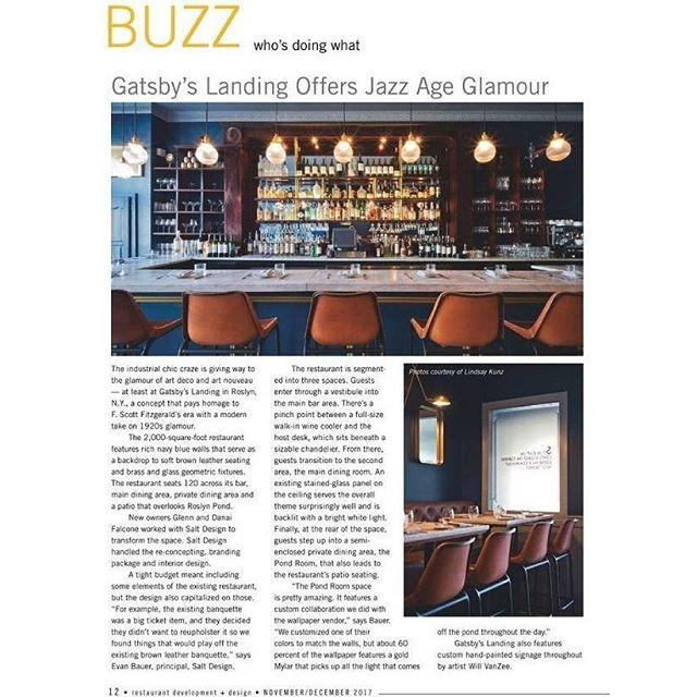 🔥🔥HOT OFF THE PRESS!🔥🔥 @GatsbysLanding in this month's issue of @restaurantdesignmag! cc: @lindsaykunz and @vanzeesignco