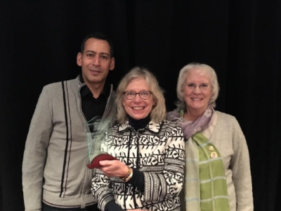 Petoskey Garden Club, William Santos, Sandy Selden and Shirley Burns receiving the Beautification Award at the 2016 Breakfast for Champions.