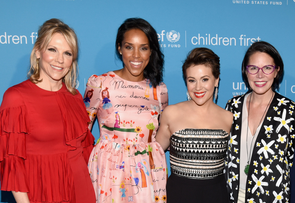 U.S. Fund for UNICEF Event Co-Chair/North Texas Regional Board Vice Chair Joyce Goss, UNICEF Event Co-Chair Jessica Nowitzki, UNICEF Ambassador Alyssa Milano and U.S. Fund for UNICEF North Texas Regional Board Chair Selwyn Rayzor (Photo by Cooper Neill/Getty Images for U.S. Fund for UNICEF)