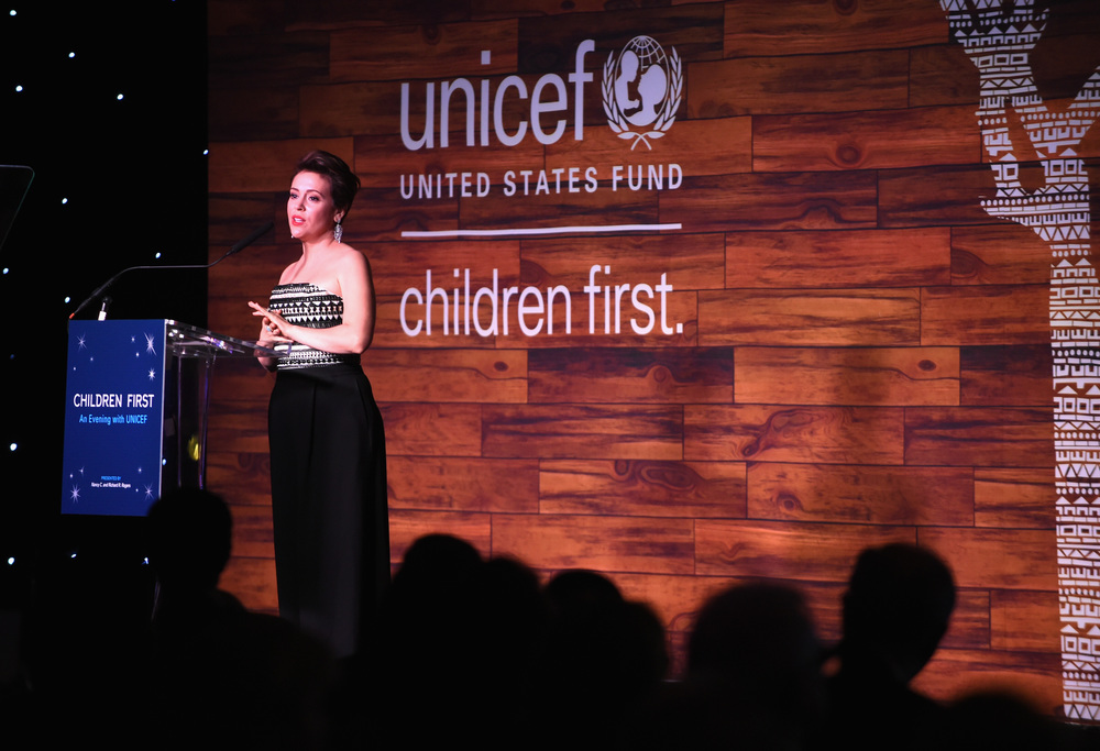 UNICEF Ambassador Alyssa Milano at the Children First. An Evening With UNICEF on April 15, 2016 in Dallas, Texas. (Photo by Cooper Neill/Getty Images for U.S. Fund for UNICEF)