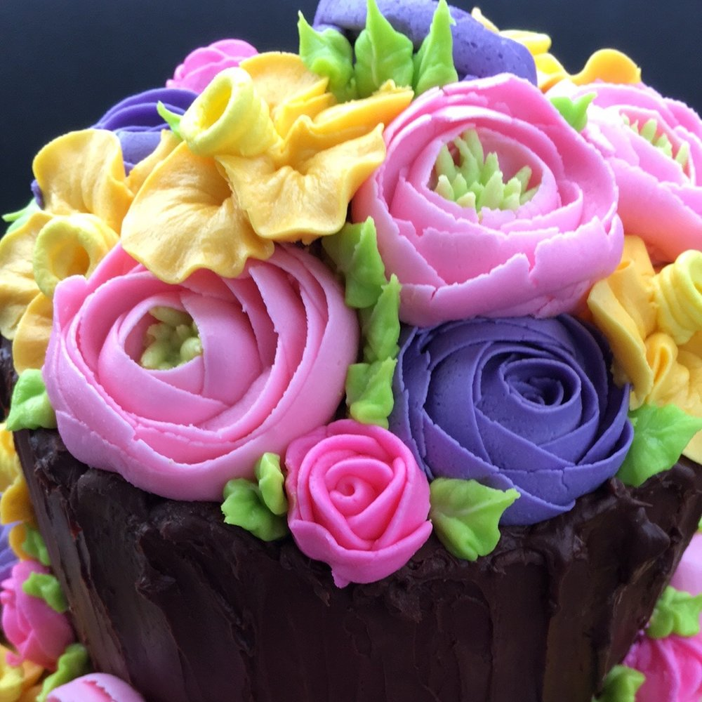 - Custom A La Carte4 layer Extra Tall Cake with Ganache Drips            $50+3 layer Buttercream Flowers                                   $50+ 2 tiered(6