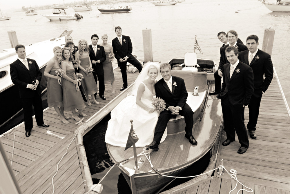 Ben & Lizzie chill with their wedding party in Newport Beach.