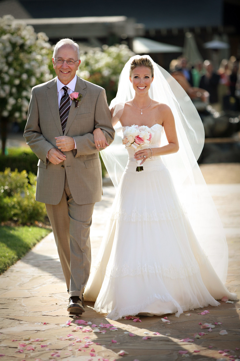 Brianna's dad was all smiles as he escorted her down the aisle at the Ponte Winery.