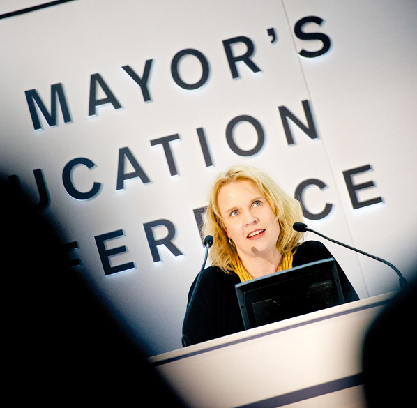 State Secretary of Education Pilvi Torsti lecturing on Finnish Education as an invited guest keynote speaker, Mayor's Education Conference, London, November 2014.