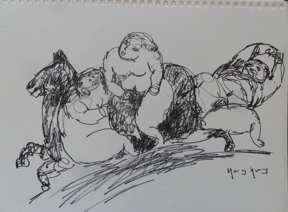 《现代罗汉图》#13纸本15x11英寸2010-2012.JPG
