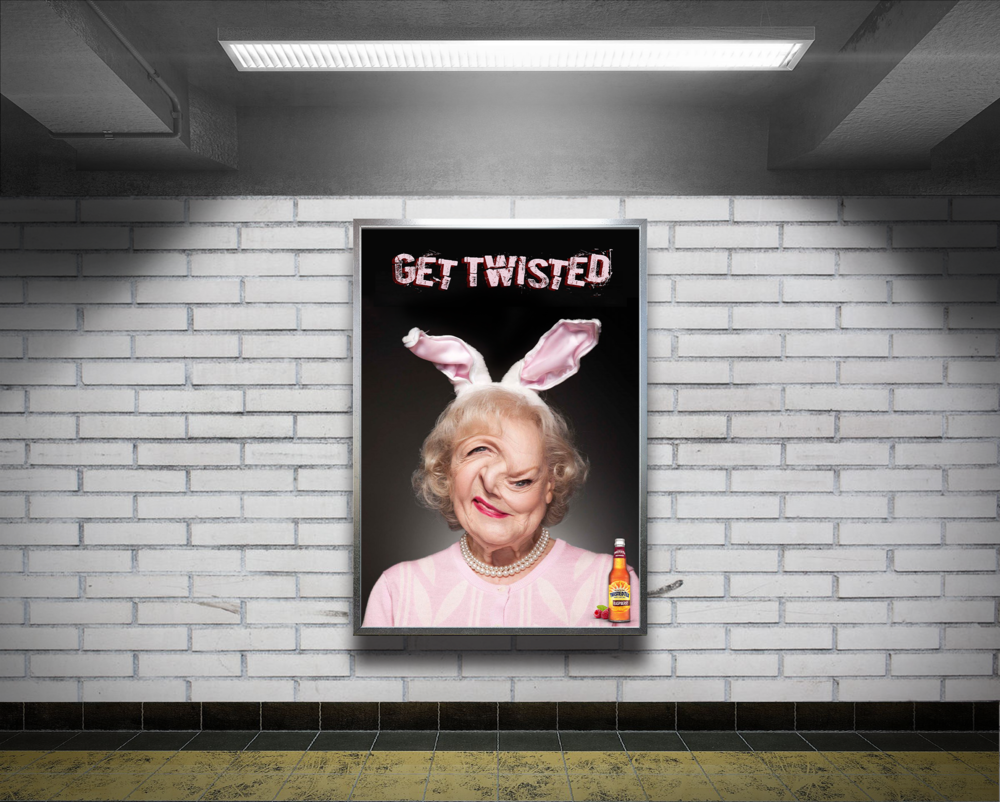 "Get Twisted - My print advertisement, ""Get Twisted"" was chosen to be one of the few student pieces on the showcase slideshow that plays on every SCAD computer around campus."