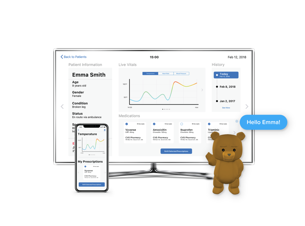 TEDDY - Teddy uses mixed reality and AI to inspire hope, create a relaxing environment and collect useful data for doctors and EMTs.