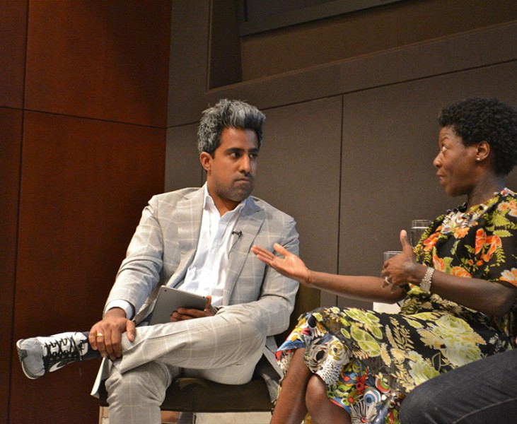 Anand Giridharadas, New York Times columnist and panel moderator, with Thelma Golden, director and chief curator of The Studio Museum in Harlem, at an Aspen Across America event in New York, NY. (Photo Credit: Patricia King)