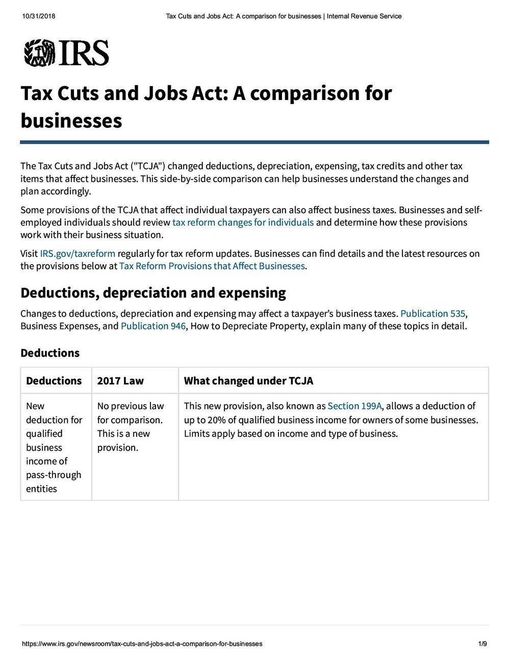 IRS Summary of Key Business Tax Law Changes in the Tax Cuts and Jobs Act posted 1 Nov 2018-page-001.jpg