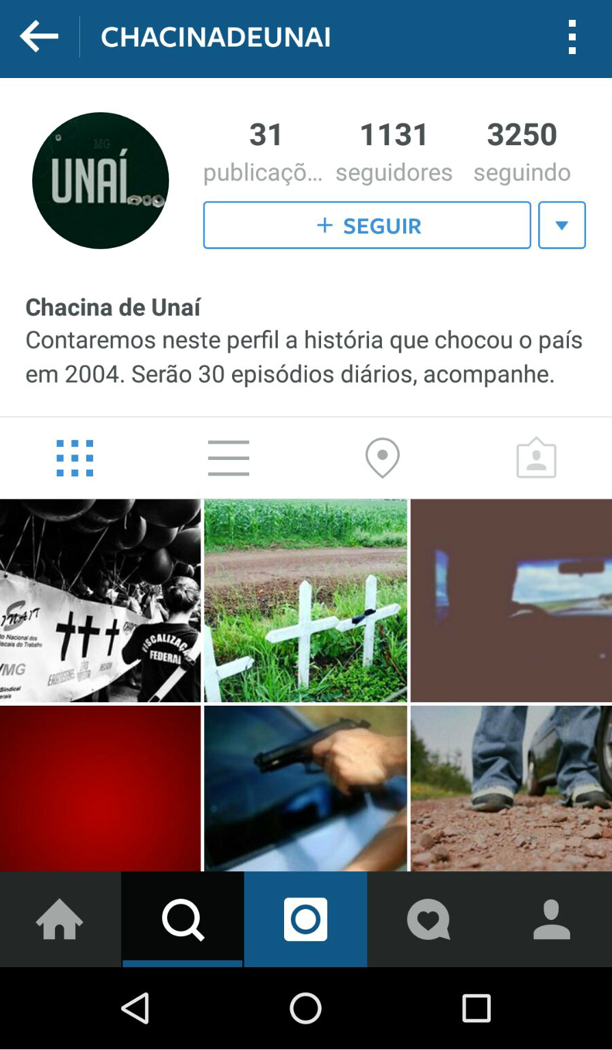 Foi criado um perfil no Instagram para recontar a história em capítulos diários.