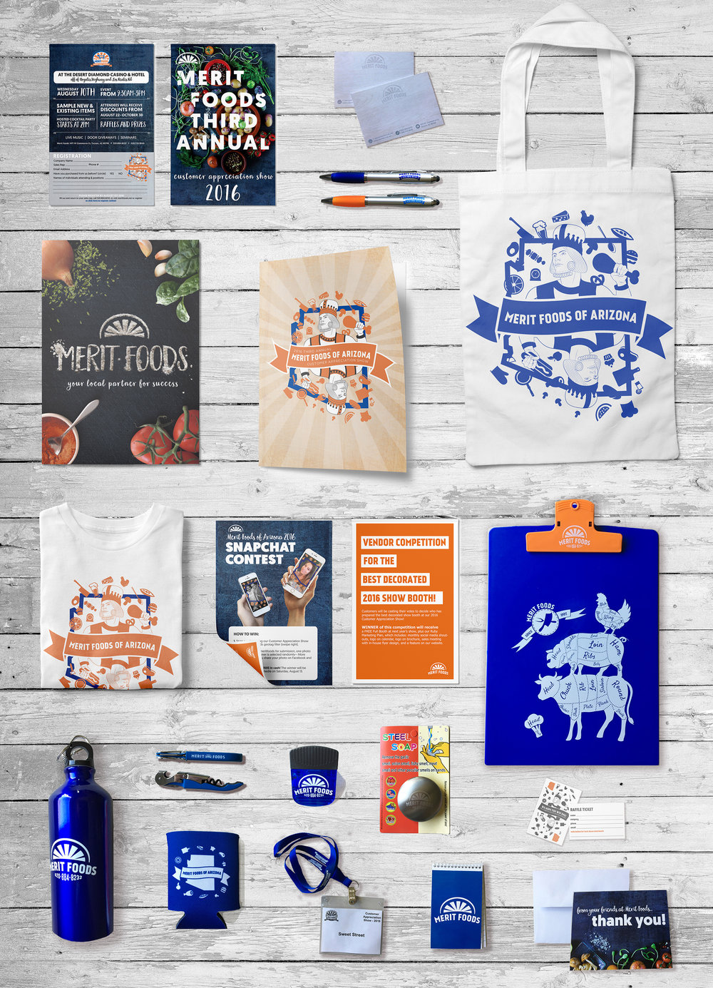 3RD ANNUAL MERIT FOODS CUSTOMER APPRECIATION SHOW   Here is the result of the 2016 trade show design + collateral. (event planning, digital and print marketing, photography, photoshop, illustrator, indesign, and mockup design)    Please click here to see the details of this extensive project!